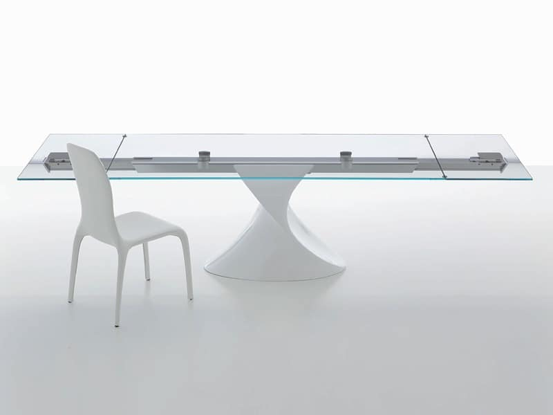 Table With Glass Top Sculptural Base Extendable IDFdesign