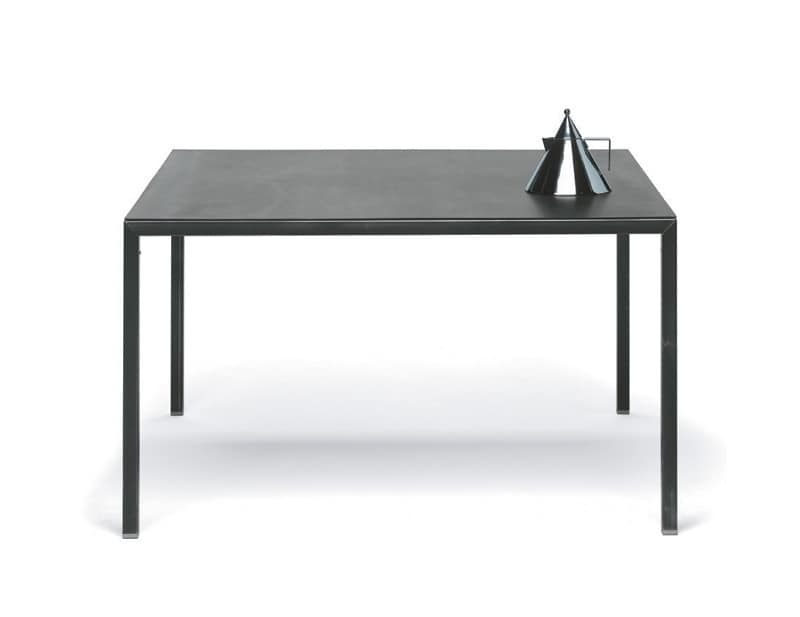 Metal table with a minimal design customized to the for Minimal table design