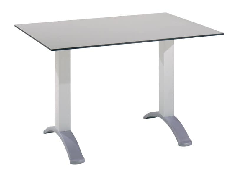 Table 120x80 cod. 07, Rectangular table with 2 aluminum columns base