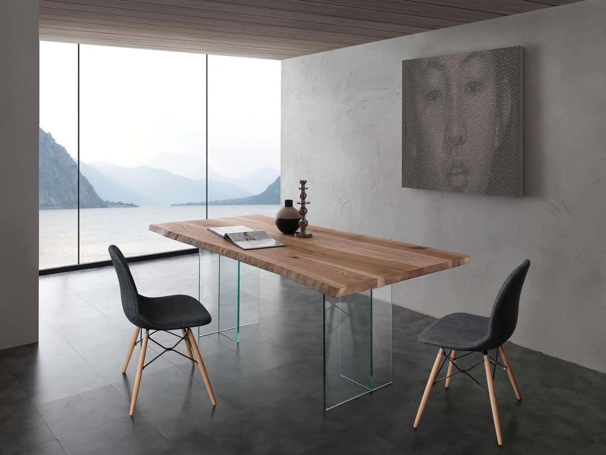 Attractive Art. 704VE Bio Glass, Table With Glass Legs, Top In Solid Ash