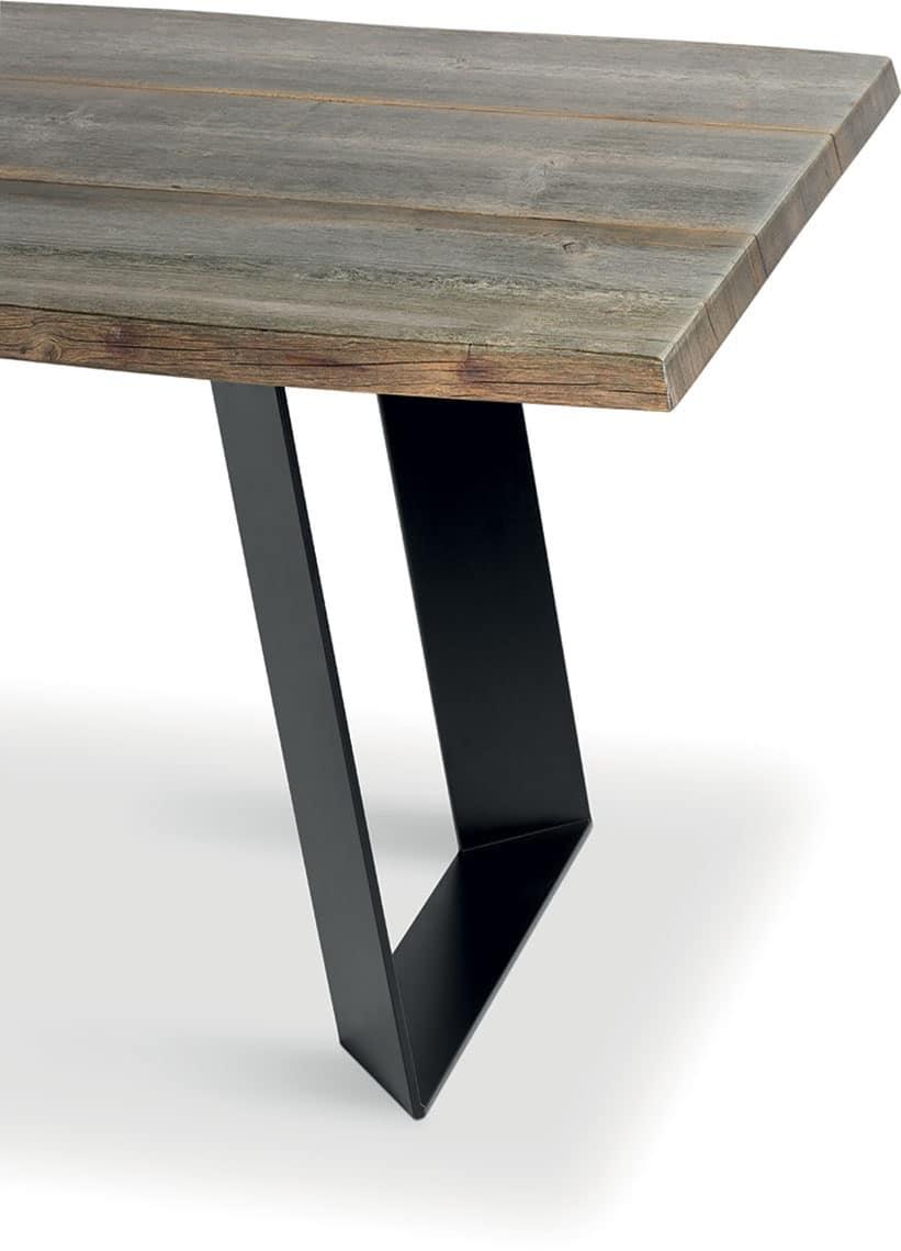BRIDGE, Fixed Table In Metal And Aged Hardwood