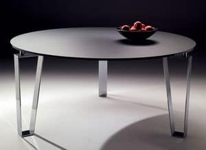 Kyoto round, Round table with steel base, for modern kitchens