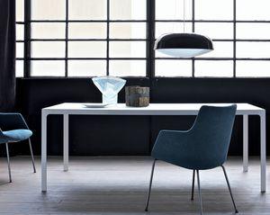 Upholstered armchairs chromed steel base for waiting for Tavoli quadrati in cristallo