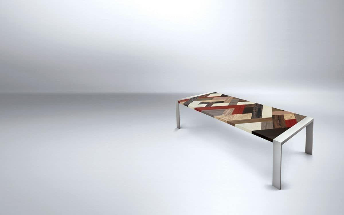 rectangular table with metal frame wooden top ideal for linear modern dining room idfdesign. Black Bedroom Furniture Sets. Home Design Ideas
