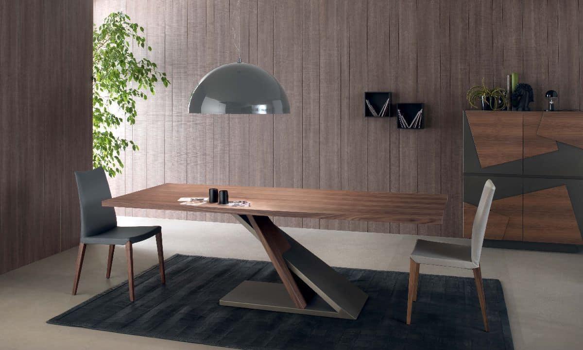 Zed 595, Design table in veneered metal, for Kitchen