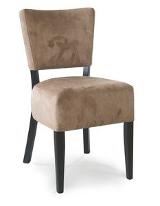 PORTOCERVO S, Wooden chair with upholstered seat