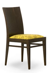 Sirio, Chair with wooden back and padded seat