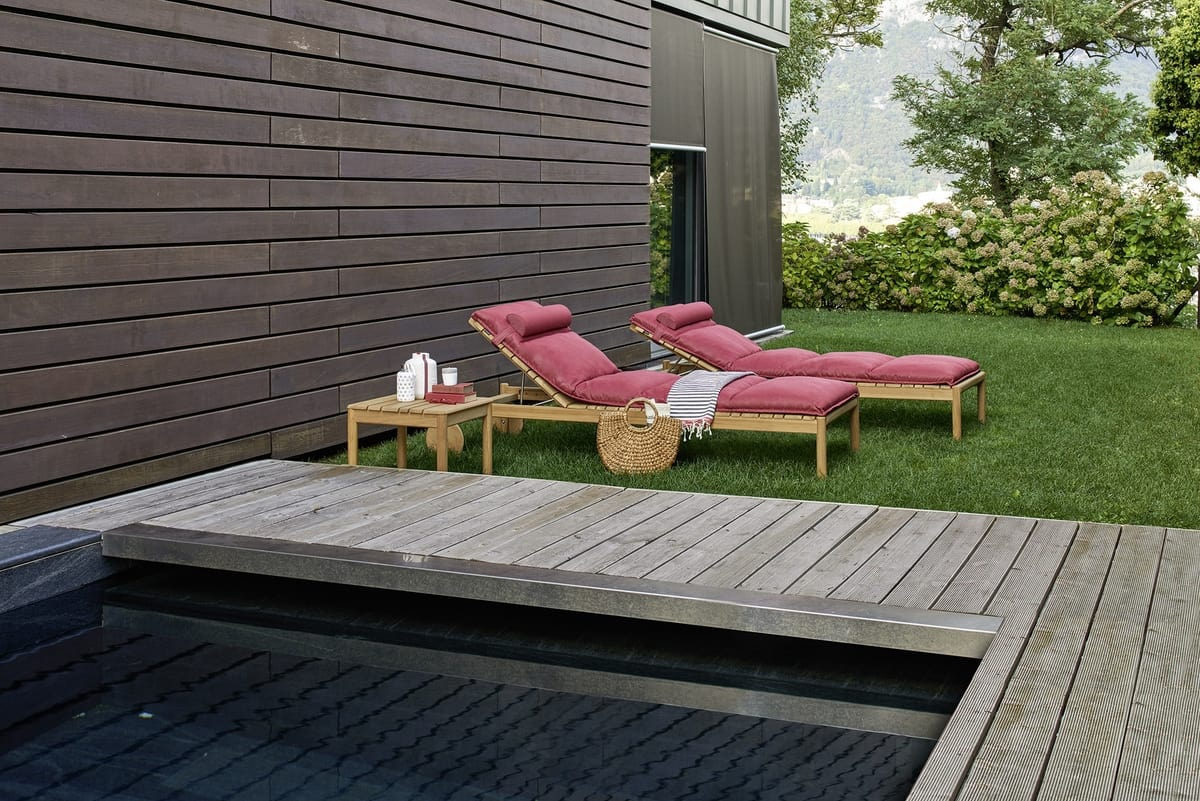 Sunbeds In Teak Wood With Cushions For Swimming Pools