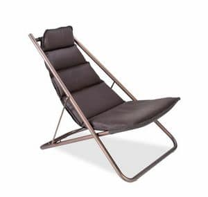 Copperfold deckchair, Padded deckchair in steel with brushed copper finish