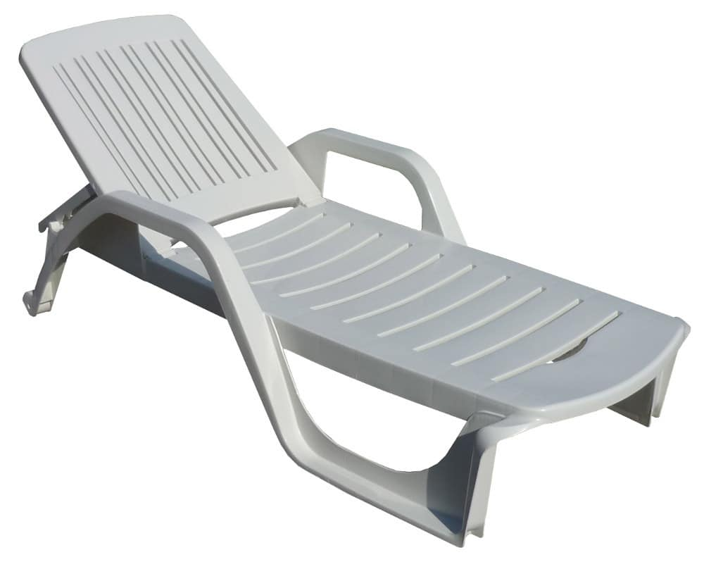 Deck chair made of plastic with armrests adjustable for Pvc deck furniture