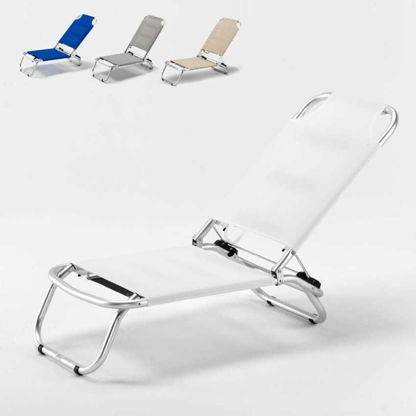 Sun loungers in aluminum and Textilene fabric ideal for beach