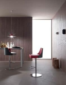 Mila 268, Stool with adjustable height, in eco-leather, for bars