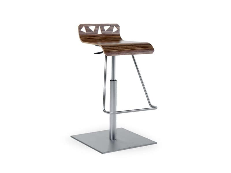 Adjustable Stool With Footrest In Stainless Steel Idfdesign