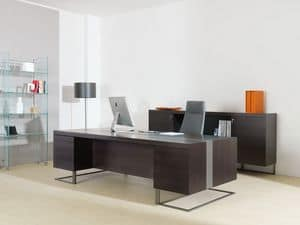 Deck Leader executive desk, Large desk, wood and metal, ideal for executive office
