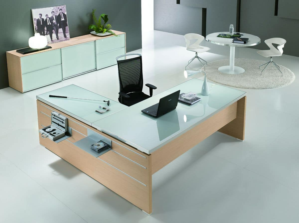 Executive Office Table With Glass Top : Odeon comp.6, Table with glass top ideal for executive office