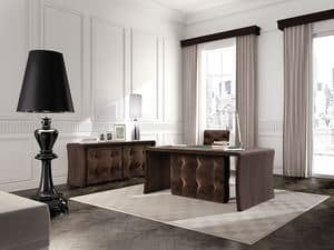 Wall Street office table, Tufted table for executive office, in oak wood