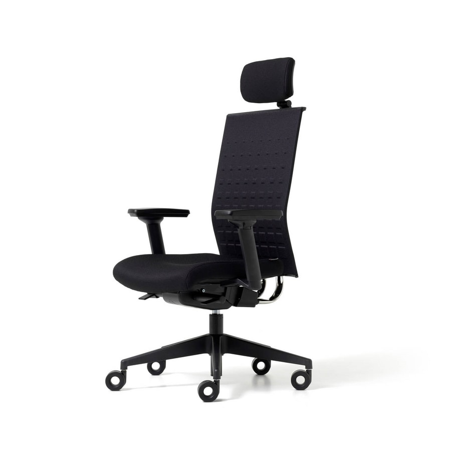 Upholstered chair for office with wheels armrests and