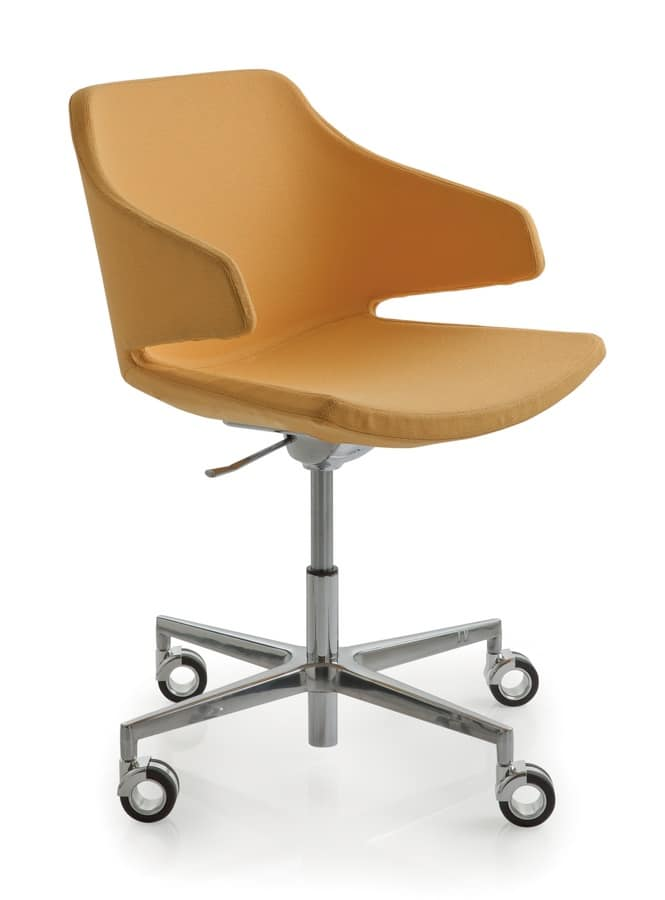 Padded Office Swivel Chair With 4 Wheels Idfdesign