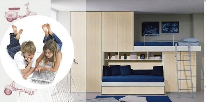 Kids Bedroom 16, Kids bedroom furniture, bridge wardrobe, extractable bed
