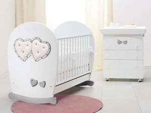 Picture of Soft Mama white silver cot, crib with sliding edge
