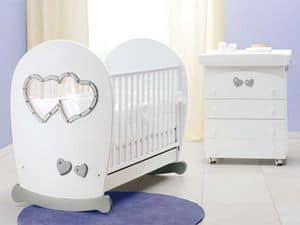 Picture of Sweet Mama white silver cot, baby cradle
