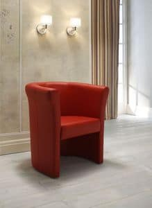 Luna, Padded armchair with leather upholstery, for waiting areas, available in different colours