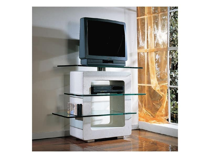 Aria TV Unit, TV-stand made of stone and glass, for home