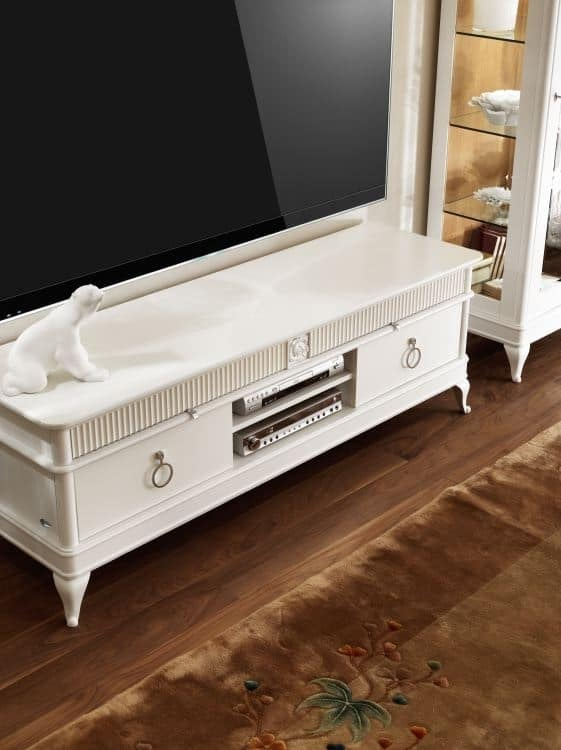 Tv cabinet with drawers in carved wood idfdesign for Mobili wooden art