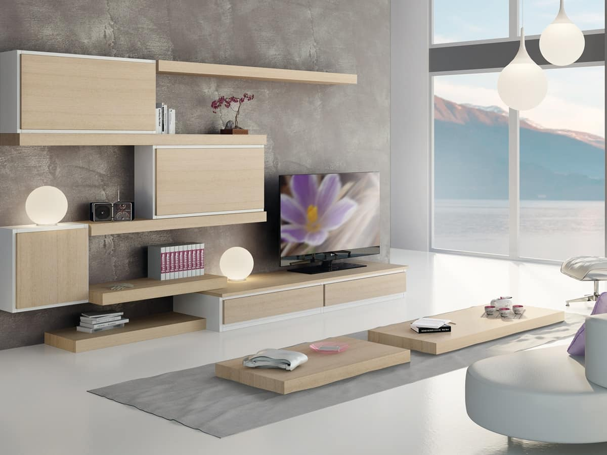 Modular furniture with shelves and storage units idfdesign - Storage units living room furniture ...