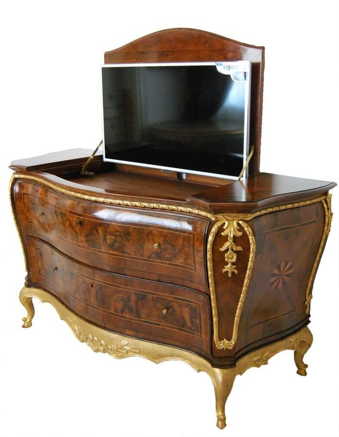 FURNITURE ART.CO 0002, Luxury burl inlaid dresser with tv container