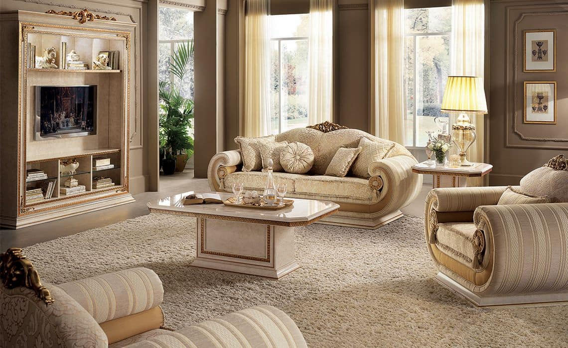 Tv cabinet for classic living room in classic style for Arredo tv design