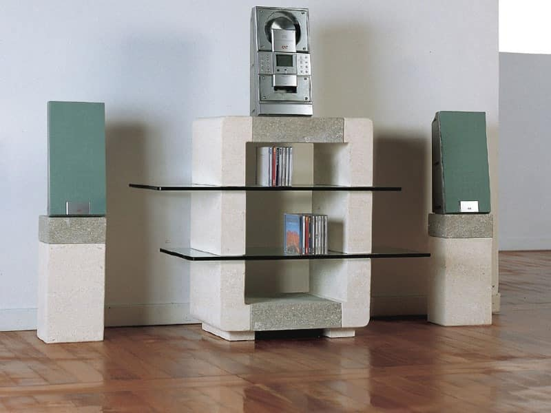 Phono CD Unit, Cabinet made of stone for the house, with glass shelves