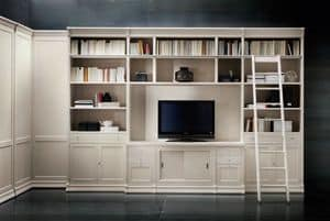 Victoria Art. 03.005, Bookcase with TV compartment and ladder, for living rooms