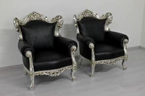 260 Bis, Baroque style armchair, made of solid beech wood