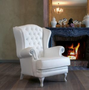 Art. 5088, Bergere armchair, entirely in white colour