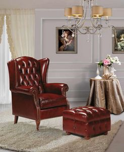 BERGER, Bergere leather armchair