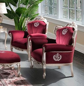 HERMITAGE armchair, Classic armchair upholstered in red velvet