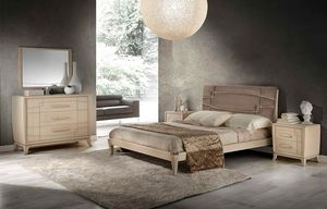 A 705, Ash bed with upholstered headboard, handcrafted