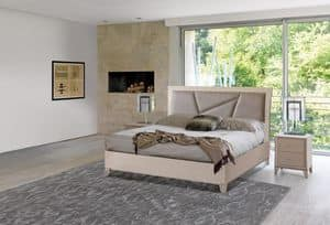 Art. 982, Ash wood bed, bed frame and headboard upholstered in classic contemporary style