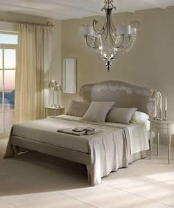 Byblos bed, Double bed with upholstered and removable headboard