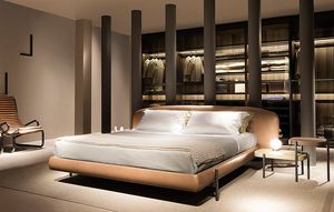 Ermione, Bed design, simple structure, headboard woven or coated