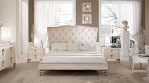 George high bed, Bed with headboard tufted and aluminum feet