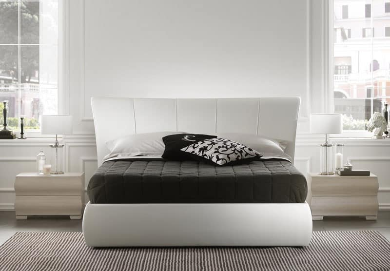 Harry bed, Modern bed with wood frame, upholstered headboard