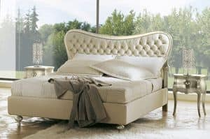Hermes low bed, Double bed with upholstered tufted headboard