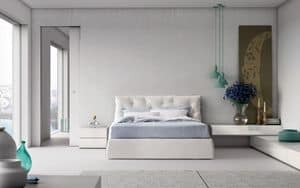 Impunto, Contemporary style double bed with upholstered headboard