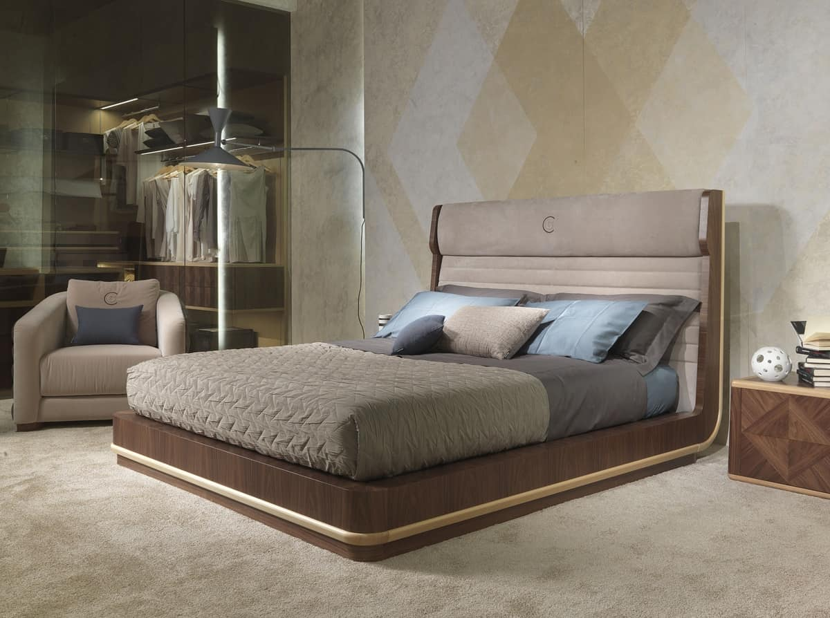 LE26 Galileo, Double bed, upholstered headboard, for bedrooms
