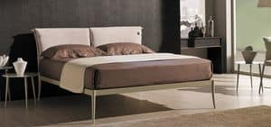 Light, Iron double bed with pillows fixed to the headboard