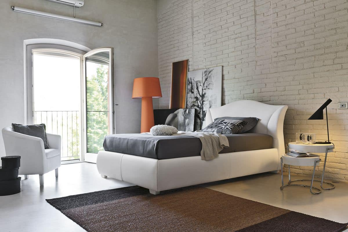 MADDALENA SD438, Upholstered semi-double bed suited for modern bedrooms
