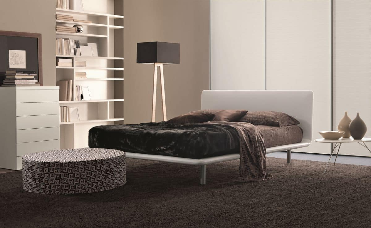 Paris, Double bed in eco-leather ideal for modern bedrooms