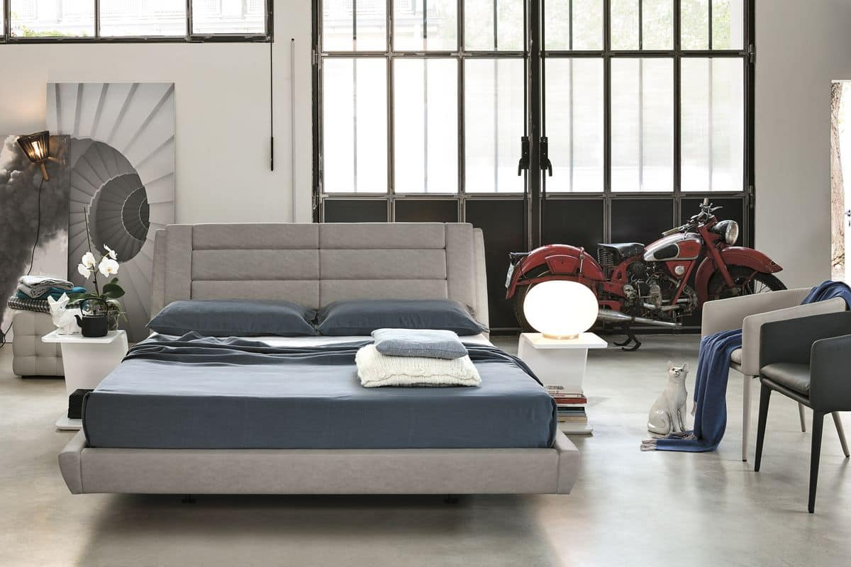 ROMA BD441, Double bed with upholstered structure ideal for modern bedrooms